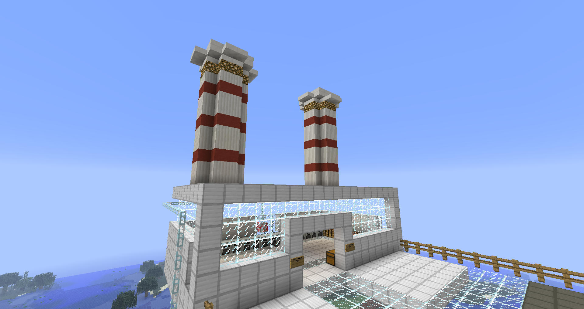 Overview of the coal plant, complete with smoke stacks