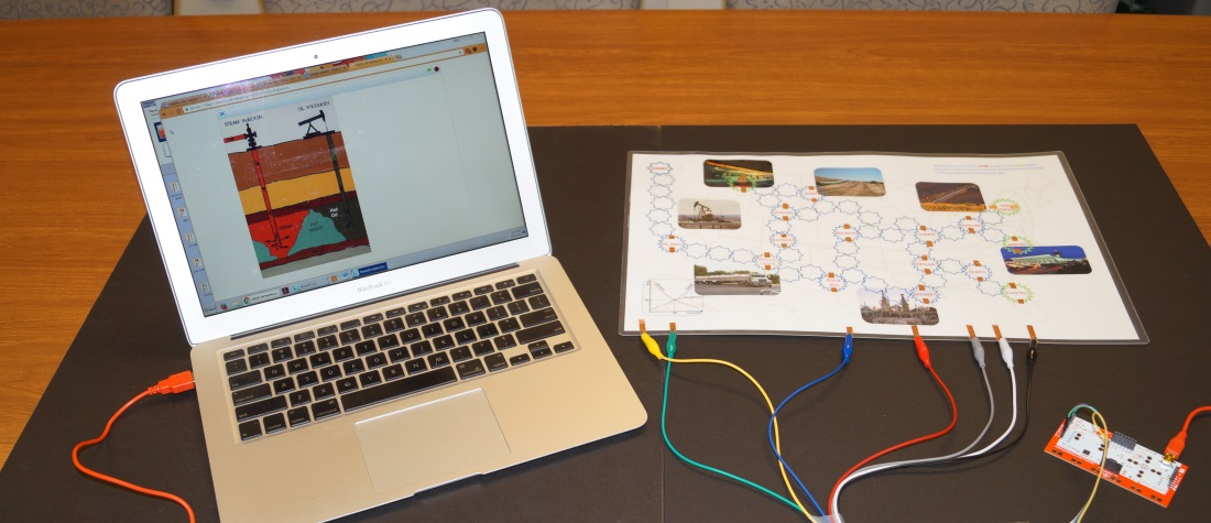 a laptop wired to the makey makey board and the game board