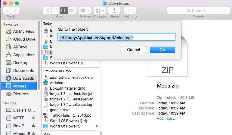 minecraft windows 10 mods folder