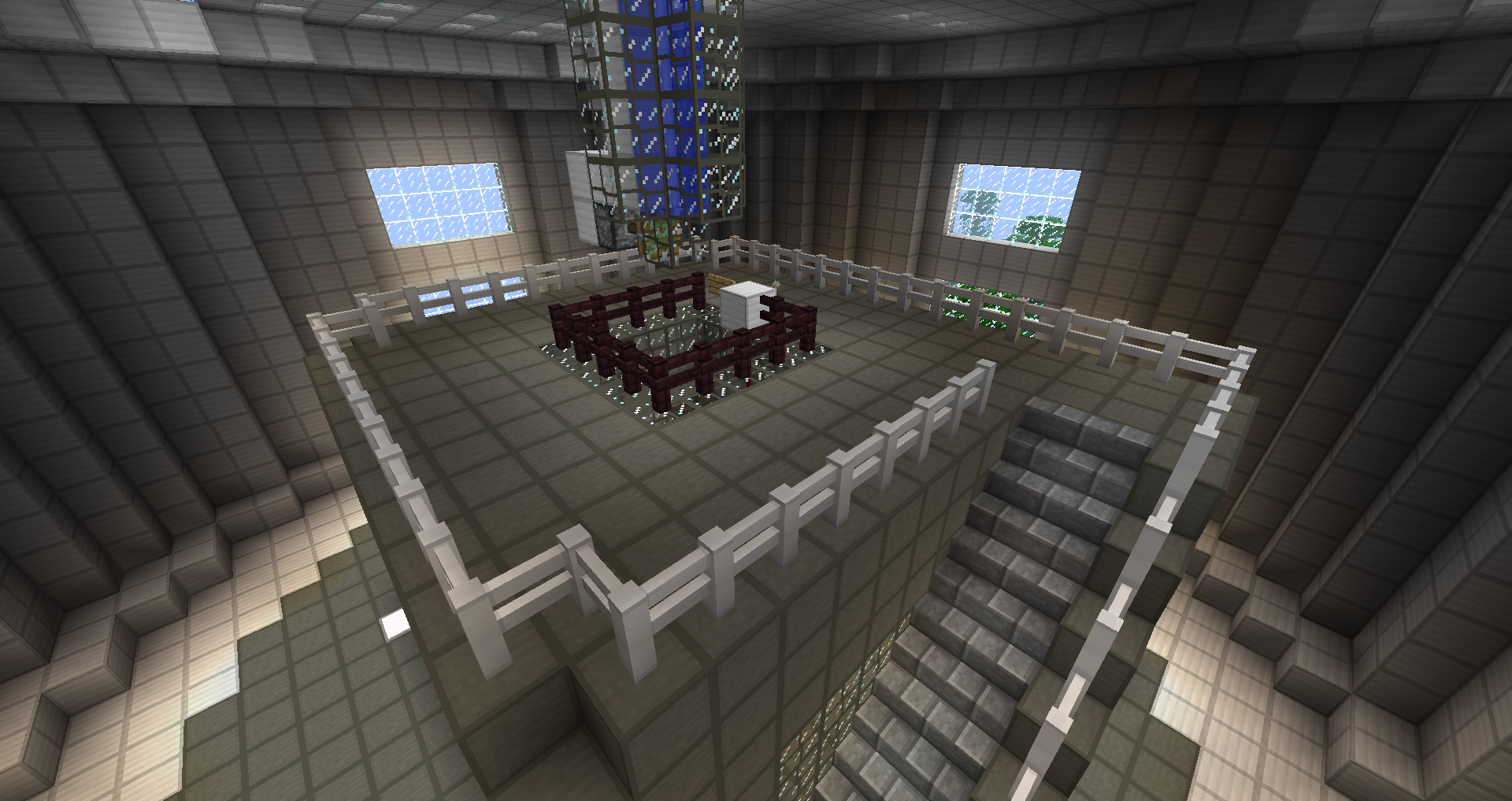 Top of reactor chamber with emergency water supply.